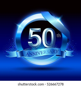Celebrating 50th anniversary logo, with silver ring and blue ribbon isolated on gradient background.