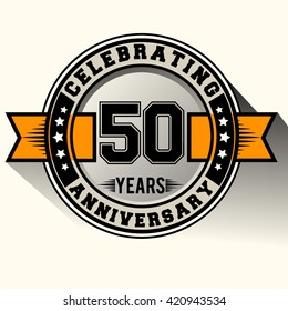 Celebrating 50th years anniversary logo vintage emblem with yellow ribbon. Retro vector background.