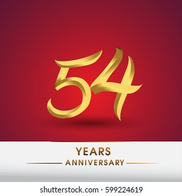 Celebrating of 54 years anniversary, logotype golden colored isolated on red background