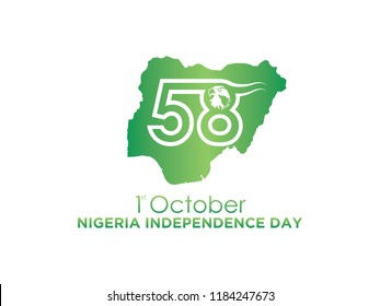 Celebrating 58th Nigeria Independence Day. Vector. 5k
