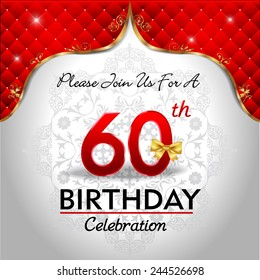 celebrating 60 years birthday, Golden red royal background - vector eps10
