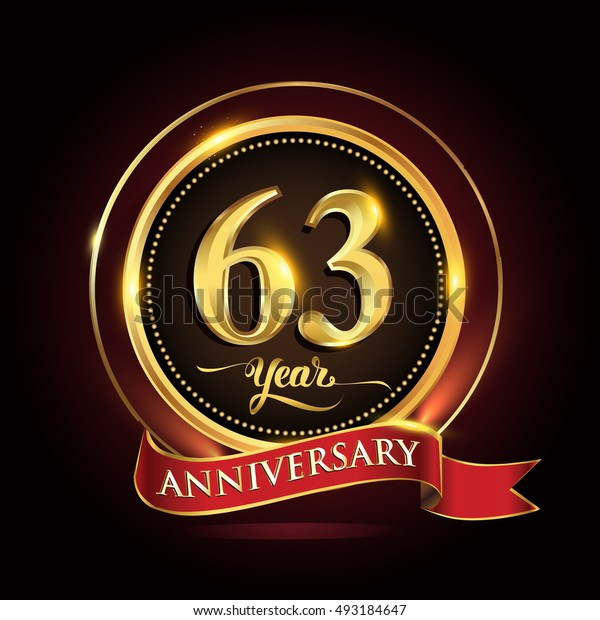 Celebrating 63 years anniversary template logo with golden ring and red ribbon.