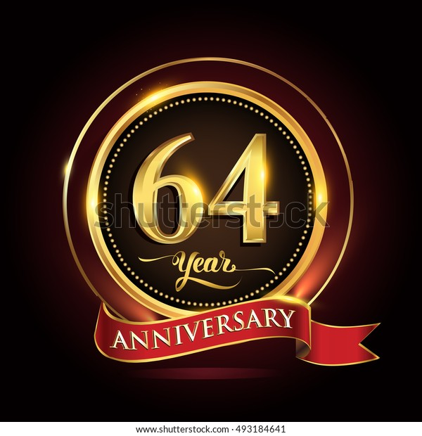 Celebrating 64 years anniversary template logo with golden ring and red ribbon.