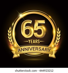Celebrating 65 years anniversary logo with golden ring and ribbon, laurel wreath vector design.