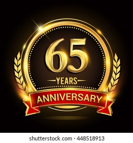 Celebrating 65 years anniversary logo with golden ring and red ribbon.