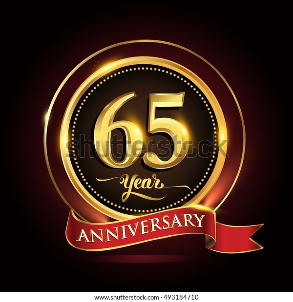 Celebrating 65 years anniversary template logo with golden ring and red ribbon.