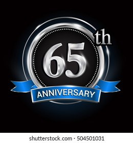 Celebrating 65th anniversary logo. with silver ring and blue ribbon,