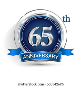 Celebrating 65th anniversary logo, with silver ring and blue ribbon isolated on white background.