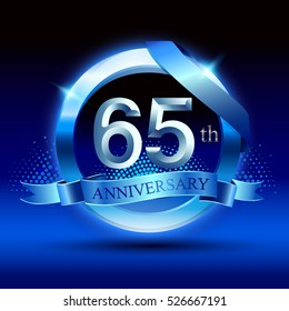 Celebrating 65th anniversary logo, with silver ring and blue ribbon isolated on gradient background.