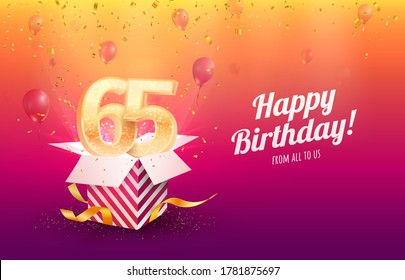 Celebrating 65th years birthday vector illustration. Sixty-five anniversary celebration background. Adult birth day. Open gift box with flying holiday numbers