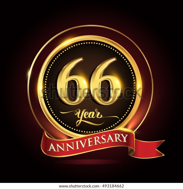 Celebrating 66 years anniversary template logo with golden ring and red ribbon.