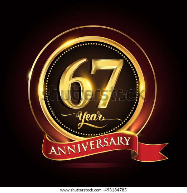 Celebrating 67 years anniversary template logo with golden ring and red ribbon.