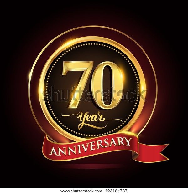 Celebrating 70 years anniversary template logo with golden ring and red ribbon.
