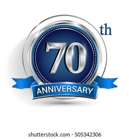 Celebrating 70th anniversary logo, with silver ring and blue ribbon isolated on white background.
