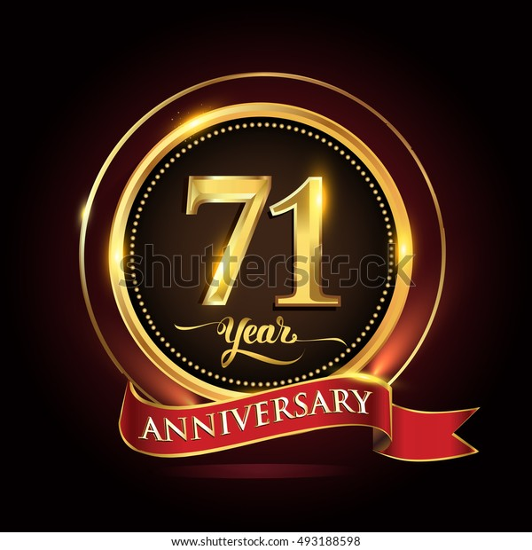 Celebrating 71 years anniversary template logo with golden ring and red ribbon.
