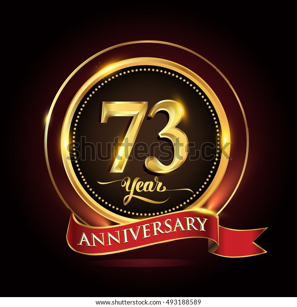 Celebrating 73 years anniversary template logo with golden ring and red ribbon.