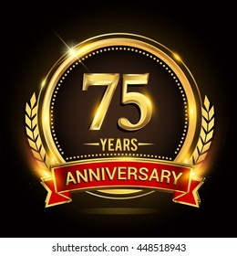 Celebrating 75 years anniversary logo with golden ring and red ribbon.