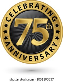 Celebrating 75th anniversary gold label, vector illustration