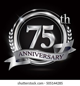 Celebrating 75th anniversary logo, with silver ring and ribbon.