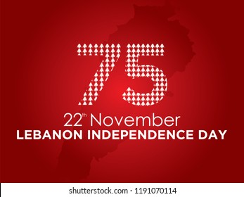 Celebrating 75th Lebanon Independence Day. Vector. 5k