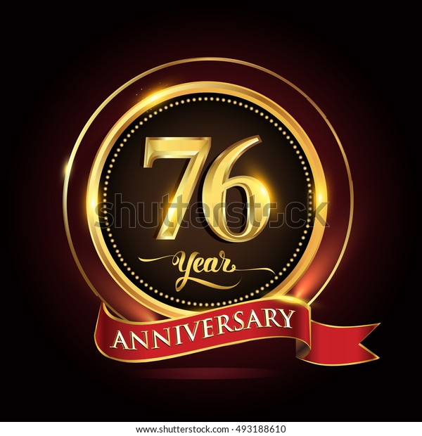 Celebrating 76 years anniversary template logo with golden ring and red ribbon.