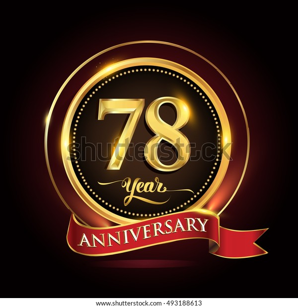 Celebrating 78 years anniversary template logo with golden ring and red ribbon.