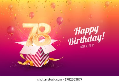 Celebrating 78th years birthday vector illustration. Seventy-eight anniversary celebration background. Adult birth day. Open gift box with flying holiday numbers