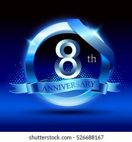 Celebrating 8 years anniversary logo. with silver ring and blue ribbon,