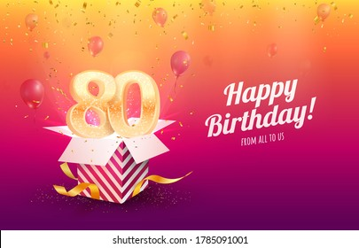 Celebrating 80th years birthday vector illustration. Eighty anniversary celebration background. Adult birth day. Open gift box with flying holiday numbers