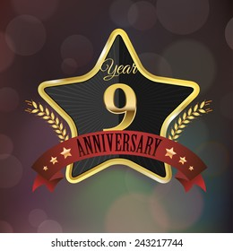Celebrating 9 Years Anniversary - Golden Star with Laurel Wreath Seal with Red Golden - Layered EPS 10 Vector.