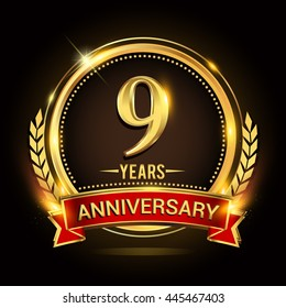 Celebrating 9 years anniversary logo with golden ring and red ribbon.