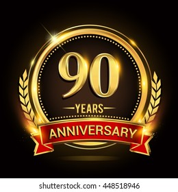 Celebrating 90 years anniversary logo with golden ring and red ribbon.