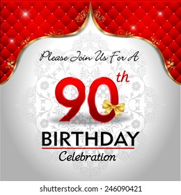 celebrating 90 years birthday, Golden red royal background - vector eps10