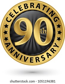 Celebrating 90th anniversary gold label, vector illustration