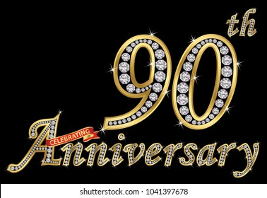 Celebrating  90th anniversary golden sign with diamonds, vector illustration