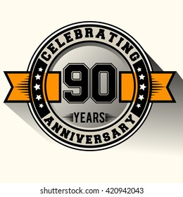 Celebrating 90th years anniversary logo vintage emblem with yellow ribbon. Retro vector background.