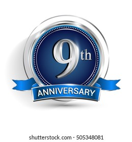 Celebrating 9th anniversary logo, with silver ring and ribbon isolated on white background.
