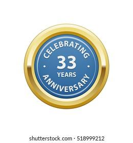 Celebrating anniversary 33 years badge