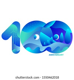 Celebrating, anniversary of number 100, 100th year anniversary, green concept cool tone with blue and green  for invitation card, backdrop, birthday card, label, banner, website  or stationary