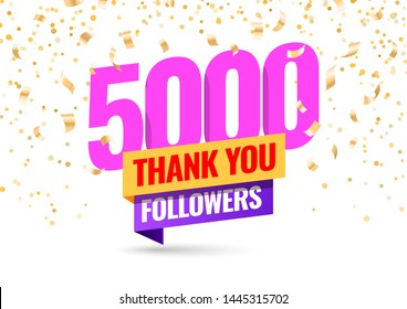 Celebrating the events of five thousand subscribers. Thank you 5K followers. Thanks followers Poster template for Social Networks. large number of subscribers. Vector illustration