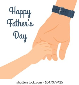 Celebrating Father's Day, banner or poster. The child holds his father's hand. Vector illustration.