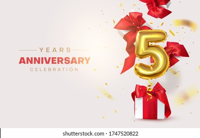Celebrating the fifth anniversary. Numeric, Birthday balloon. Gifts are flying with confetti, number 5. Birthday decorations. Vector illustration