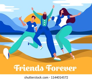 Celebrating friendship day concept. Happy friends together illustration for greeting card