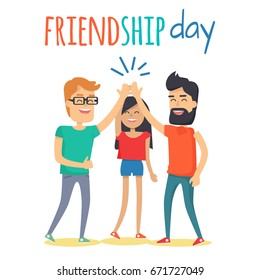 Celebrating friendship day concept. Two man and woman cartoon characters clapping hands in high five gesture flat vector on white background. Happy friends together illustration for greeting card