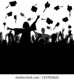 Celebrating graduation concept with silhouette of students