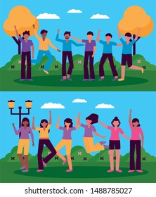 celebrating happy young group people animated outdoor vector illustration