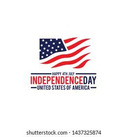 Celebrating Independence day of USA logo design template