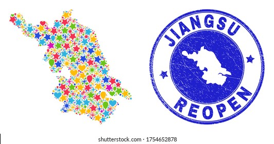 Celebrating Jiangsu Province map mosaic and reopening textured stamp seal. Vector mosaic Jiangsu Province map is composed with scattered stars, hearts, balloons.