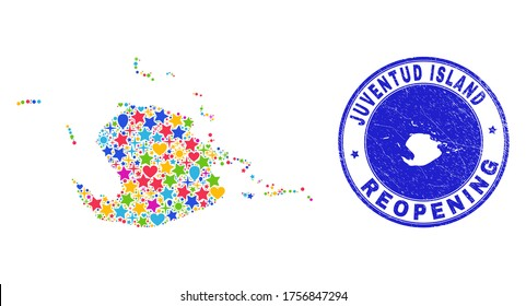 Celebrating Juventud Island map mosaic and reopening rubber seal. Vector mosaic Juventud Island map is created from scattered stars, hearts, balloons.