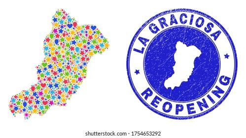 Celebrating La Graciosa Island map mosaic and reopening corroded stamp seal. Vector mosaic La Graciosa Island map is created of scattered stars, hearts, balloons.